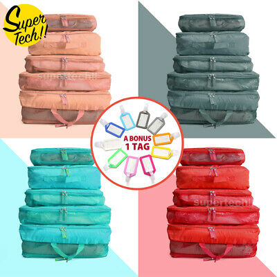 AU9.75 • Buy 5pcs Packing Cube Pouch Suitcase Clothes Storage Bags Travel Luggage Organiser