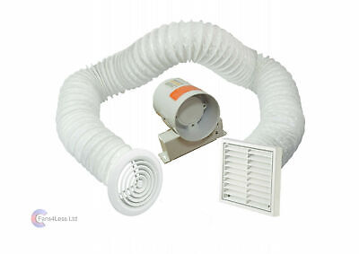 £22.99 • Buy 4  Inline Extractor Fan With Timer - Full Kit - Ventilation For Bathroom Shower