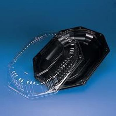5x Small Black Platters & Clear Lids, Sandwich Trays, Buffet Platters, Catering • 13.44£
