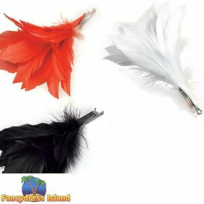 £2.69 • Buy BURLESQUE RED FEATHER HAIR CLIP Womens Ladies Fancy Dress Costume Accessory