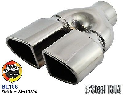 $ CDN120.69 • Buy Exhaust Tip Oval Dual Tailpipe Trim S/Steel For VW Golf 5 6 Peugeot 206 RC Style
