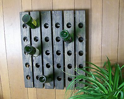 Wine Riddling Rack Distressed French Style Wood Hand Crafted Wall Hanging • 168.62£