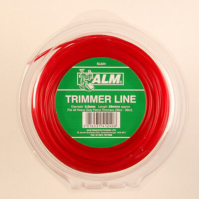 ALM 3mm X 28M Red Trimmer Strimmer Line Wire Cord Heavy Duty Petrol SL024 • 7.49£