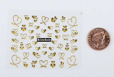 Gold Glitter Hearts 3D Designs Nail Art Stickers Decals UV Acrylic Decoration  • 1.49£