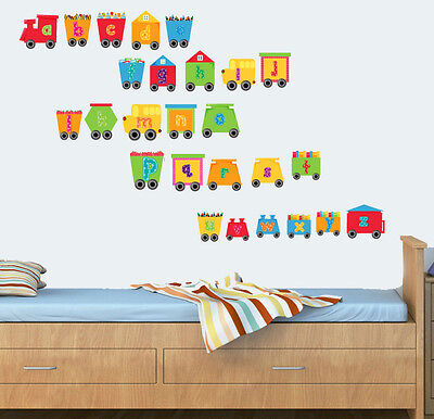 Childrens Alphabet Train - Pack Of 26 - Wall Vinyl Stickers Engine Learning Abc • 8.99£