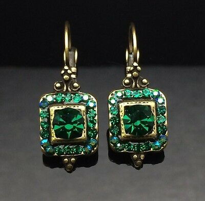AU14.95 • Buy Antique French Lantern Emerald Green Crystal Earring Wedding Gold SWAROVSKI Gift
