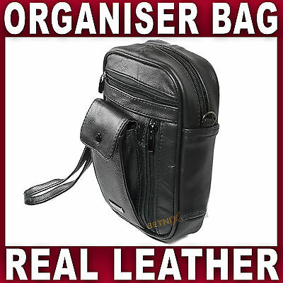 BLACK LEATHER Organiser BAG Travel Taxi Bus Truck Driver Money Holder Man Bag • 10.95£