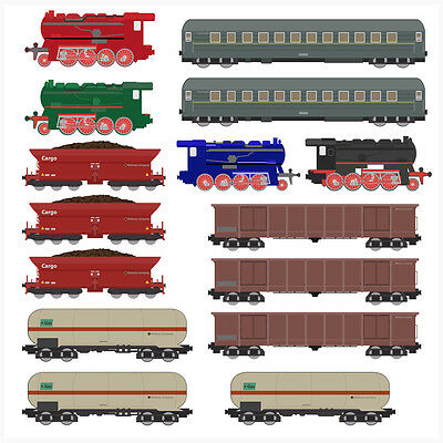 Childrens Train Set - 15 Pack - Wall Art Vinyl Stickers Steam Engines Carriages • 8.99£
