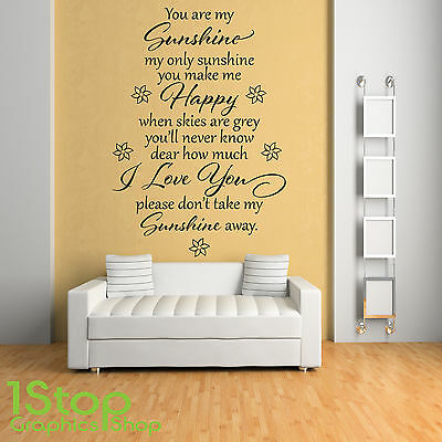 £11.65 • Buy You Are My Sunshine Wall Sticker Quote - Bedroom Home Wall Art Decal X230