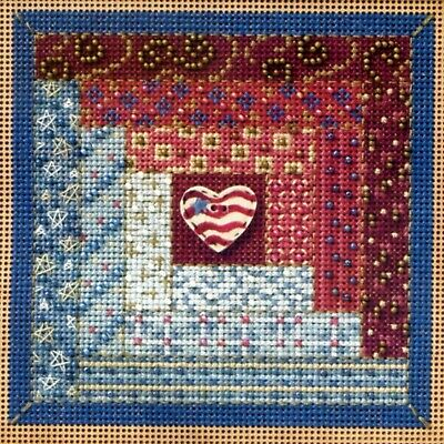 $12.99 • Buy Log Cabin Quilt Cross Stitch Kit Mill Hill 2011 Buttons & Beads Autumn