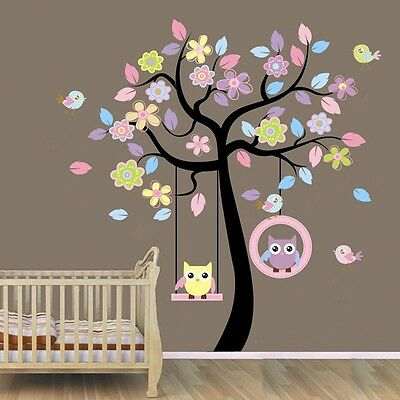 Owls On Swing Colourful Tree Wall Stickers Decal Baby Mural Paper Home Art Decor • 11.89£