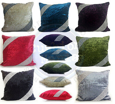 Large Crush Velvet Diamante Cross Lace Cushions Covers 17X17 Or21 X21  7 Colors • 8.25£