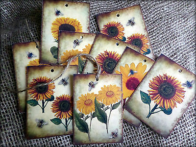 £3.20 • Buy Set Of 9 Shabby Sunflower Tags/Toppers/Embellishments