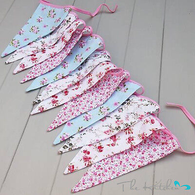 £7.45 • Buy Vintage Floral Party Bunting 100% Cotton Double Sided Bunting  3m 12 Flags
