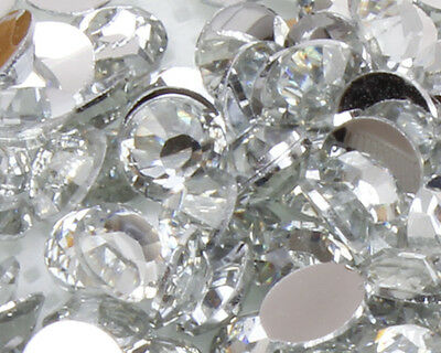 Clear Crystal Flat Back Nail Art Rhinestones Gems 2MM-6MM Glitter Beads • 1.20£