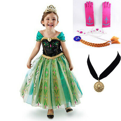 AU21.95 • Buy NEW Girls Dress Princess Queen Anna Party Birthday Costume Size 2-7 Years