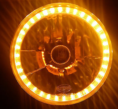 AU139.95 • Buy Amber 7 Round LED Halo Ring H4 Headlights Angel Eye DRL Ford F100 F150 F250 F350