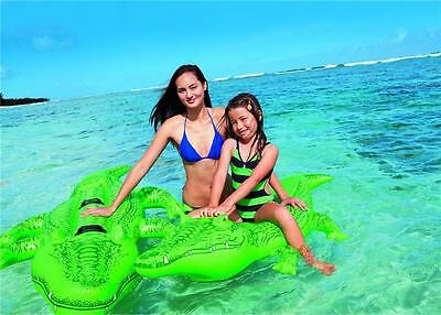£9.50 • Buy Giant Gator Large Inflatable Crocodile Beach Lilo Ride On Swimming Pool Toy
