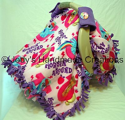 My Little Pony Fleece / Infant / Baby Car Seat Canopy / Tent / Cover - Handmade • 39.31£