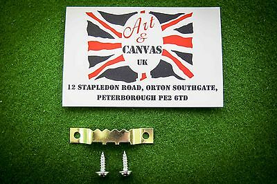 Sawtooth Hangers (48mm) Canvas / Picture Frame With Screws (x 25, X 50, X 100) • 6.48£