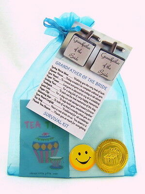 Father Bride Groom Best Man Usher Survival Kit Wedding Favour Cuff Links Thank • 3.55£
