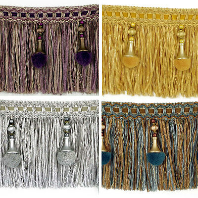 Luxury Exquisite Beaded Tassel Trim Fringe Braid Trimming Pom Pom 4 Colours • 1.95£