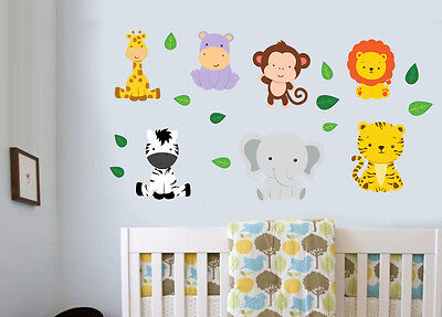 Jungle Animals With Leaves 18 Pack Wall Stickers Decal Zebra Lion Tiger Elephant • 8.99£