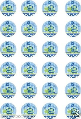 £3.89 • Buy 24 Or 15 Blue Turtle 1st Birthday/1 Year Icing/rice Paper Cup Cake Toppers