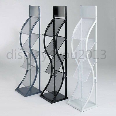 A4 Wave Literature Brochure Display Stand Magazine Rack For Reception Showroom • 79.99£