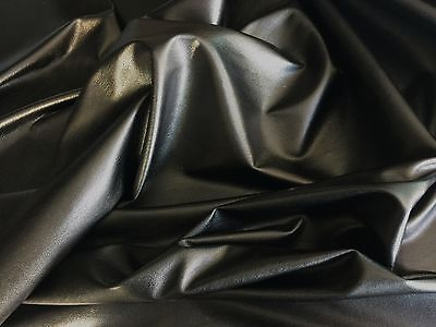 Black Dress Clothing Faux Leather Leatherette Lycra Stretch Fabric Pvc Material* • 7.99£