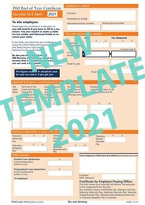 P60 FORMS 5 FORMS FOR 2019/20 SAGE IRIS/TAS PAYROLL Brand New High Quality • 1.79£