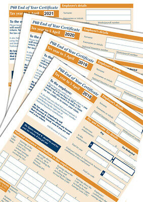 P60 Forms X 2 FORMS EACH FOR 2017, 18, 19 & 20 SAGE IRIS/TAS PAYROLL Top Quality • 15.99£