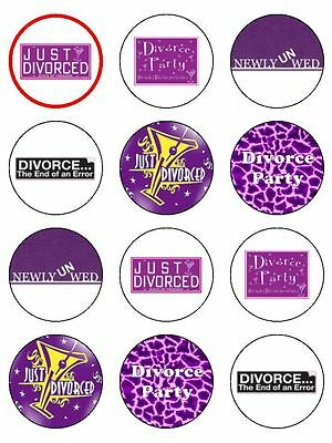 12 X Divorce Party 2  PRE-CUT PREMIUM RICE PAPER Edible Cup Cake Toppers • 1.20£