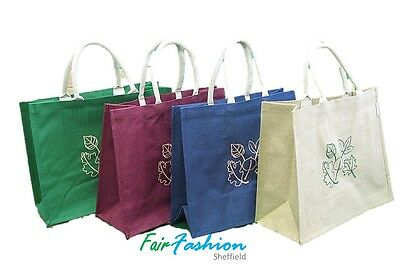 £2.70 • Buy Jute Hessian Colourful Shopping Bag  With Pattern ( Large ) - 100% Natural