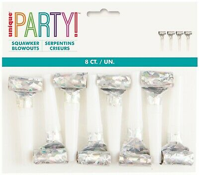 AU5.69 • Buy Unicorn Birthday Iridescent Rainbow Party 8 X Blowouts Blowers Favours Treat Bag