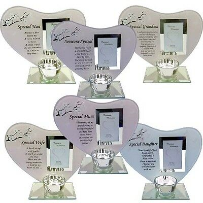 £11.99 • Buy Glass Photo Frame Memorial And Candle Holder Rememberance Special Keepsake