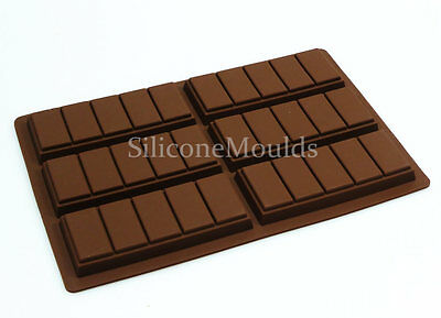 6 Cell 5 Chunk Chocolate Bar Candy Mold Chocolatier Silicone Mould Snap Wax Melt • 6.99£