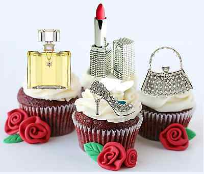 £2.77 • Buy BLING Lipstick MakeUp Shoe Handbag 20 FLAT RICE CARD STAND UP FAIRY CAKE TOPPERS