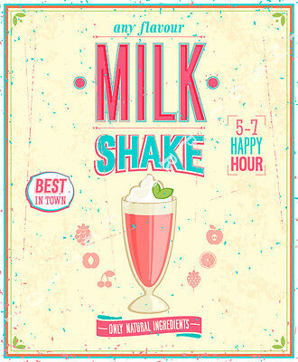 Milk Shake Any Flavour Large Metal Tin Sign Poster Retro Style Sweet Shop  • 14.99£
