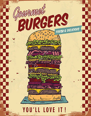 £14.99 • Buy Fresh Delicious Burgers American Diner Large Metal Tin Sign Poster Food Kitchen