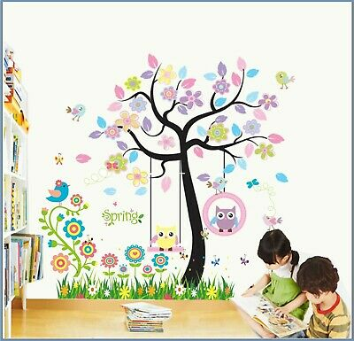 Owl Zoo Animal Wall Stickers Jungle Tree Nursery Baby Bedroom Mural Decals Decor • 18.89£