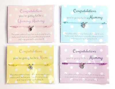 New Mum To Be Gift / Wish Bracelet, Baby Feet, Baby Shower Favour • 1.99£