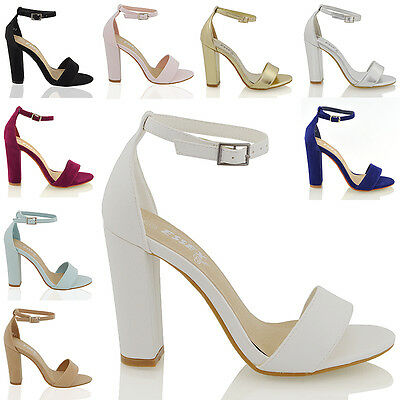£14.99 • Buy Womens Ankle Strap Sandals Block High Heel Ladies Strappy Bridal Party Prom 3-8