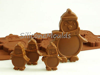 6+1 Penguin Silicone Mould Christmas Chocolate Candy Baking Resin Wax Melt Craft • 4.99£