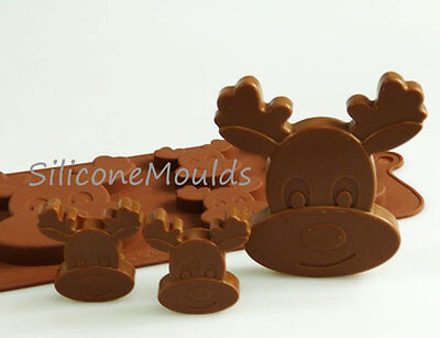 4+1 Reindeer Silicone Mould Christmas Chocolate Candy Cookie Cake Resin Wax Melt • 4.99£