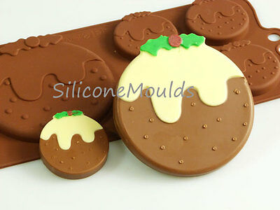 4+1 Christmas Pudding Silicone Mould Chocolate Candy Cake Resin Wax Melt Soap • 4.99£