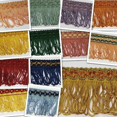 14 COLOUR 45mm Loop Fringe Chain Braid Curtain Lampshade Edging Trim BUY 1 2 4m+ • 5.70£