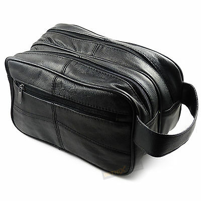 Large Black REAL LEATHER WASH BAG Toiletries Toiletry Travel Weekend GENTS MENS • 14.99£