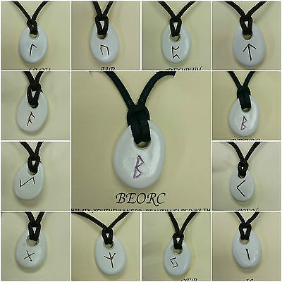 Rune Stone Pendant/ Mystic Signs/ Necklace/ Cord Necklace/ Made In Britain • 4.50£
