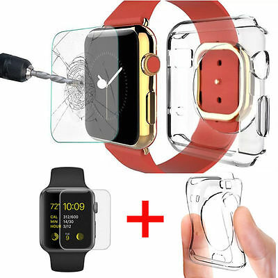 AU7.95 • Buy New 2.5D Tempered Glass Screen Protector + Case For Apple Watch Series 1/2/3